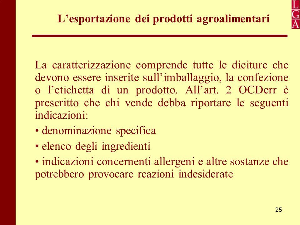 25 L'esportazione dei prodotti agroalimentari La caratterizzazione comprende tutte le diciture che devono essere inserite sull'imballaggio, la confezi