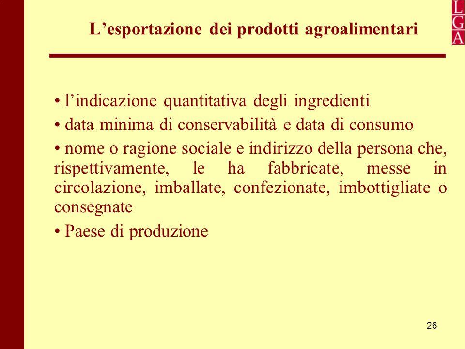 26 L'esportazione dei prodotti agroalimentari l'indicazione quantitativa degli ingredienti data minima di conservabilità e data di consumo nome o ragi