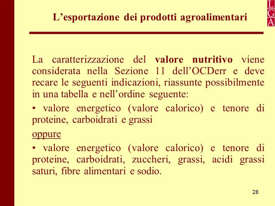 28 L'esportazione dei prodotti agroalimentari La caratterizzazione del valore nutritivo viene considerata nella Sezione 11 dell'OCDerr e deve recare l