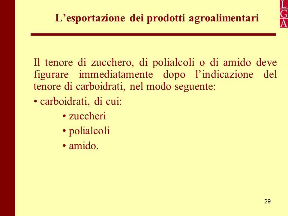 29 L'esportazione dei prodotti agroalimentari Il tenore di zucchero, di polialcoli o di amido deve figurare immediatamente dopo l'indicazione del teno