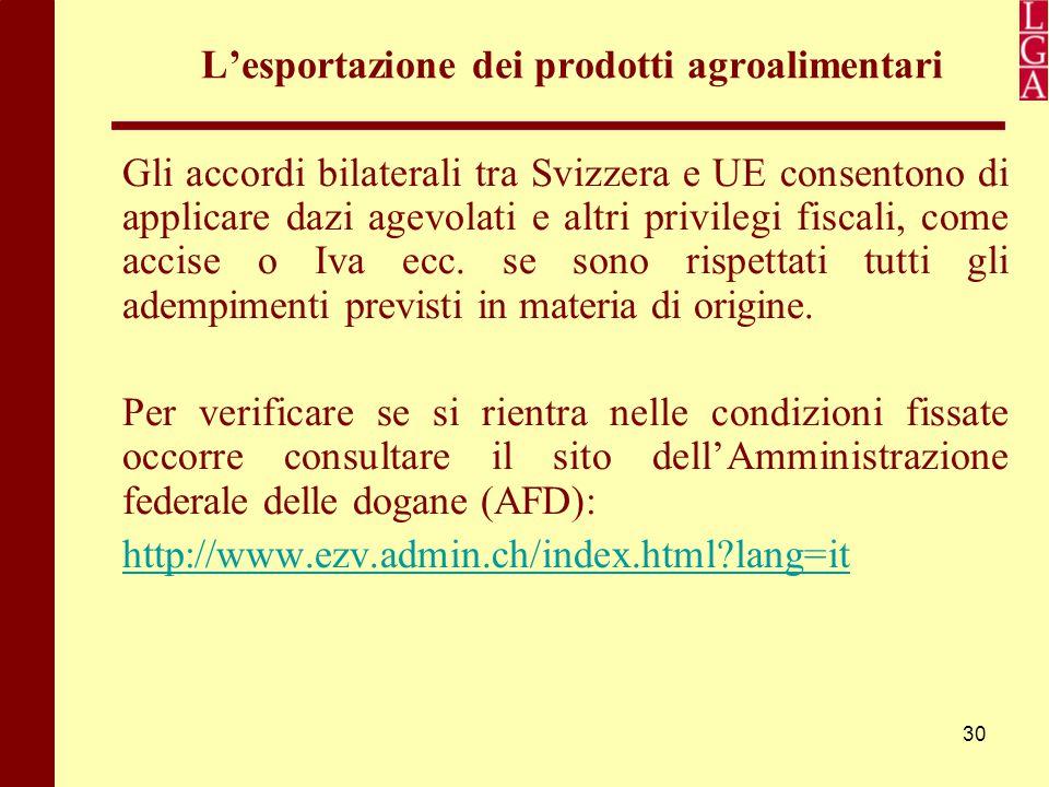 30 L'esportazione dei prodotti agroalimentari Gli accordi bilaterali tra Svizzera e UE consentono di applicare dazi agevolati e altri privilegi fiscal