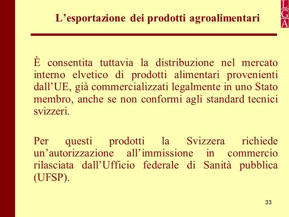 33 L'esportazione dei prodotti agroalimentari È consentita tuttavia la distribuzione nel mercato interno elvetico di prodotti alimentari provenienti d