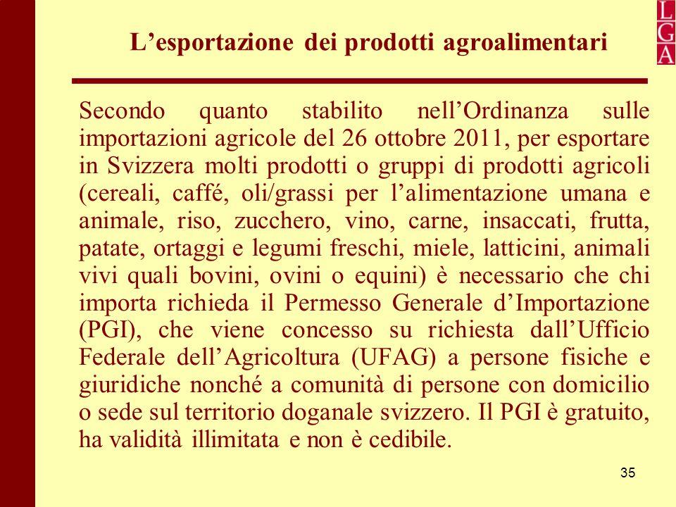 35 L'esportazione dei prodotti agroalimentari Secondo quanto stabilito nell'Ordinanza sulle importazioni agricole del 26 ottobre 2011, per esportare i