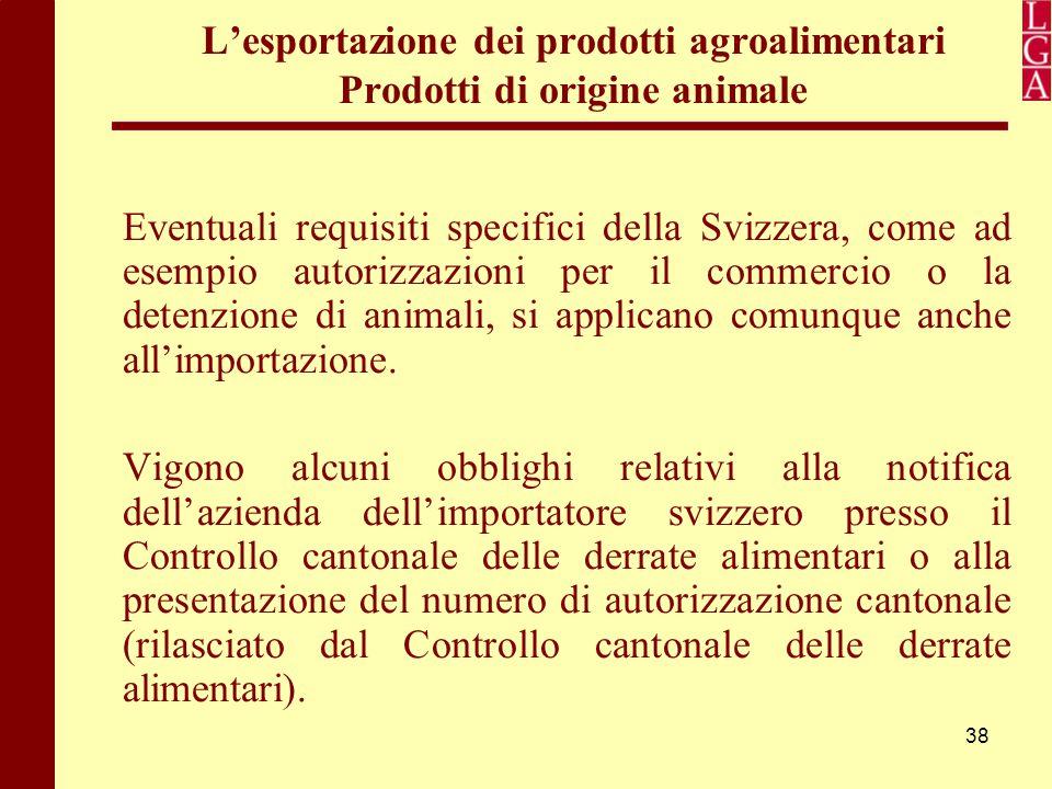 38 L'esportazione dei prodotti agroalimentari Prodotti di origine animale Eventuali requisiti specifici della Svizzera, come ad esempio autorizzazioni