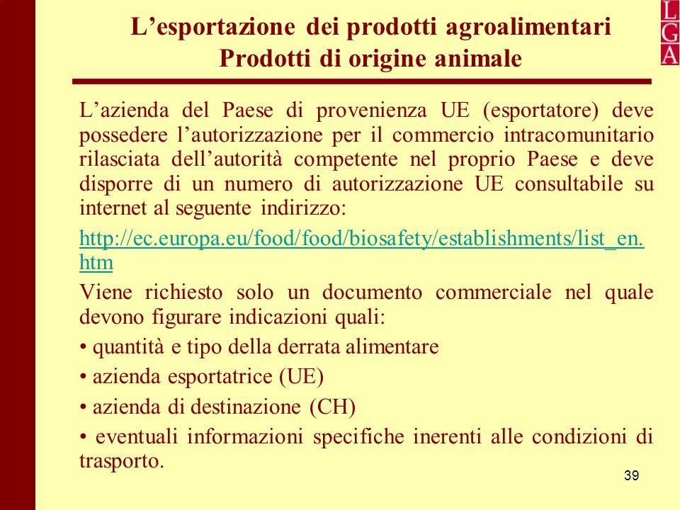 39 L'esportazione dei prodotti agroalimentari Prodotti di origine animale L'azienda del Paese di provenienza UE (esportatore) deve possedere l'autoriz