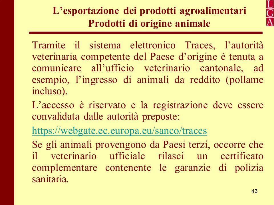 43 L'esportazione dei prodotti agroalimentari Prodotti di origine animale Tramite il sistema elettronico Traces, l'autorità veterinaria competente del
