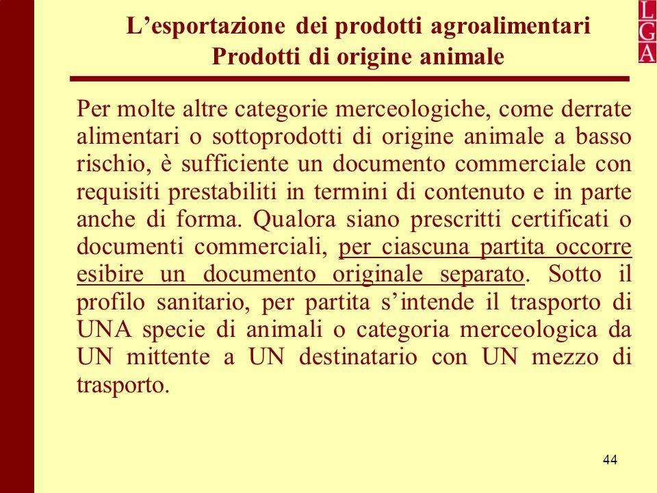 44 L'esportazione dei prodotti agroalimentari Prodotti di origine animale Per molte altre categorie merceologiche, come derrate alimentari o sottoprod