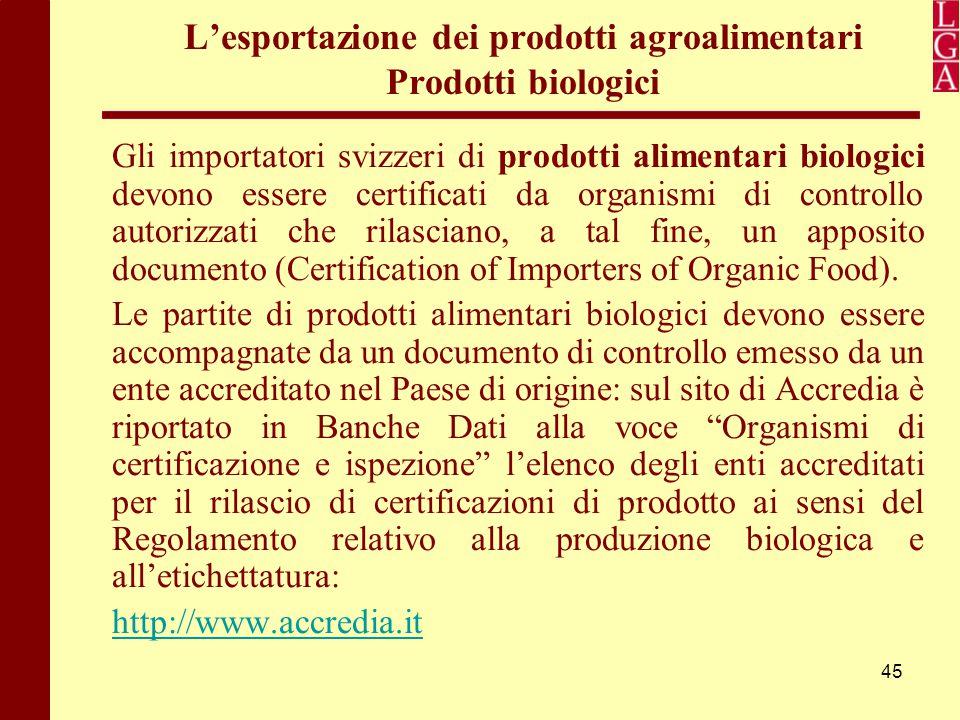 45 L'esportazione dei prodotti agroalimentari Prodotti biologici Gli importatori svizzeri di prodotti alimentari biologici devono essere certificati d