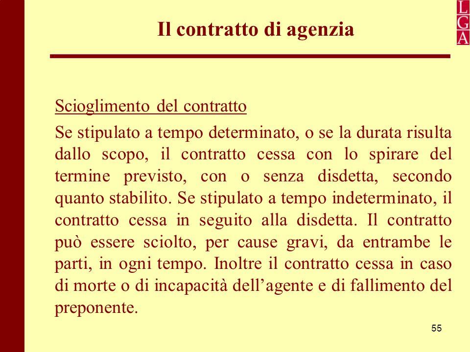 55 Il contratto di agenzia Scioglimento del contratto Se stipulato a tempo determinato, o se la durata risulta dallo scopo, il contratto cessa con lo