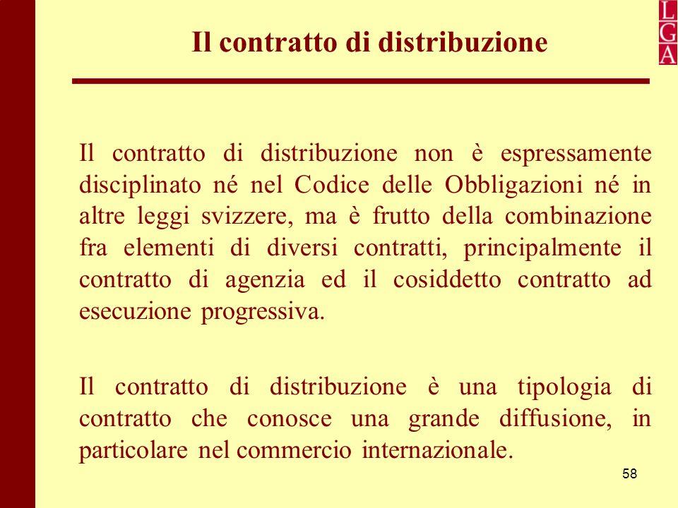 58 Il contratto di distribuzione Il contratto di distribuzione non è espressamente disciplinato né nel Codice delle Obbligazioni né in altre leggi svi