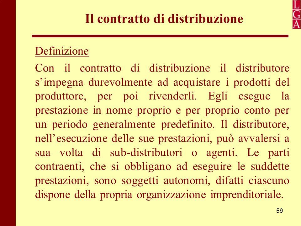 59 Il contratto di distribuzione Definizione Con il contratto di distribuzione il distributore s'impegna durevolmente ad acquistare i prodotti del pro