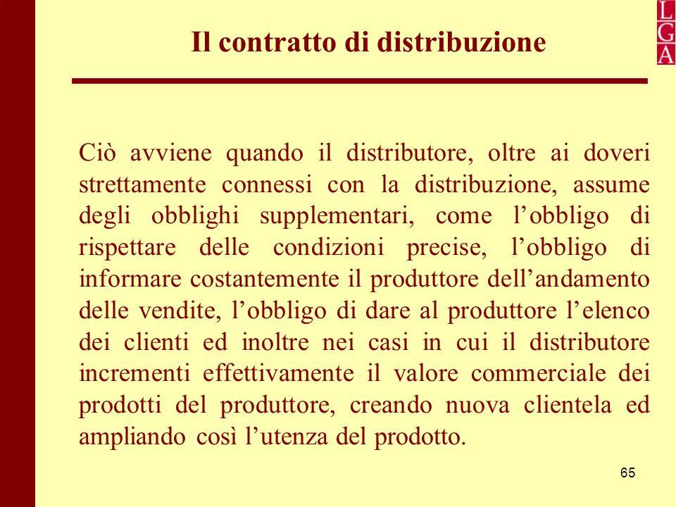 65 Il contratto di distribuzione Ciò avviene quando il distributore, oltre ai doveri strettamente connessi con la distribuzione, assume degli obblighi