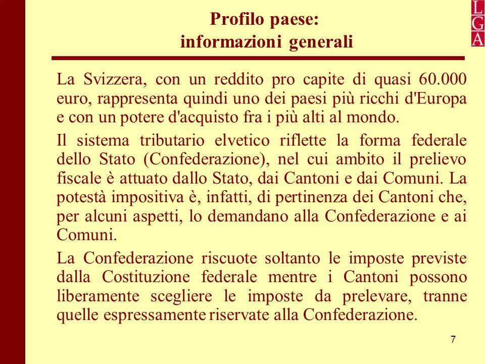 7 Profilo paese: informazioni generali La Svizzera, con un reddito pro capite di quasi 60.000 euro, rappresenta quindi uno dei paesi più ricchi d'Euro