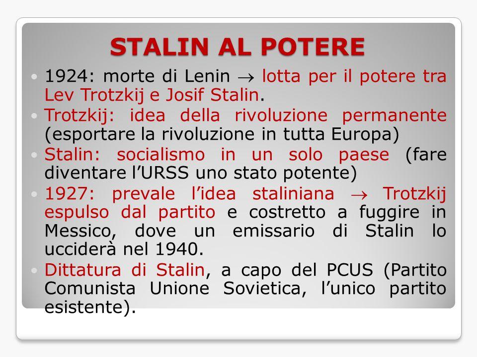 STALIN AL POTERE 1924: morte di Lenin  lotta per il potere tra Lev Trotzkij e Josif Stalin. Trotzkij: idea della rivoluzione permanente (esportare la