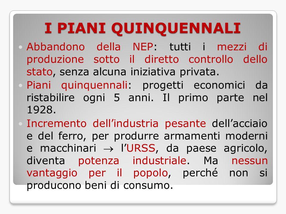 I PIANI QUINQUENNALI Abbandono della NEP: tutti i mezzi di produzione sotto il diretto controllo dello stato, senza alcuna iniziativa privata. Piani q