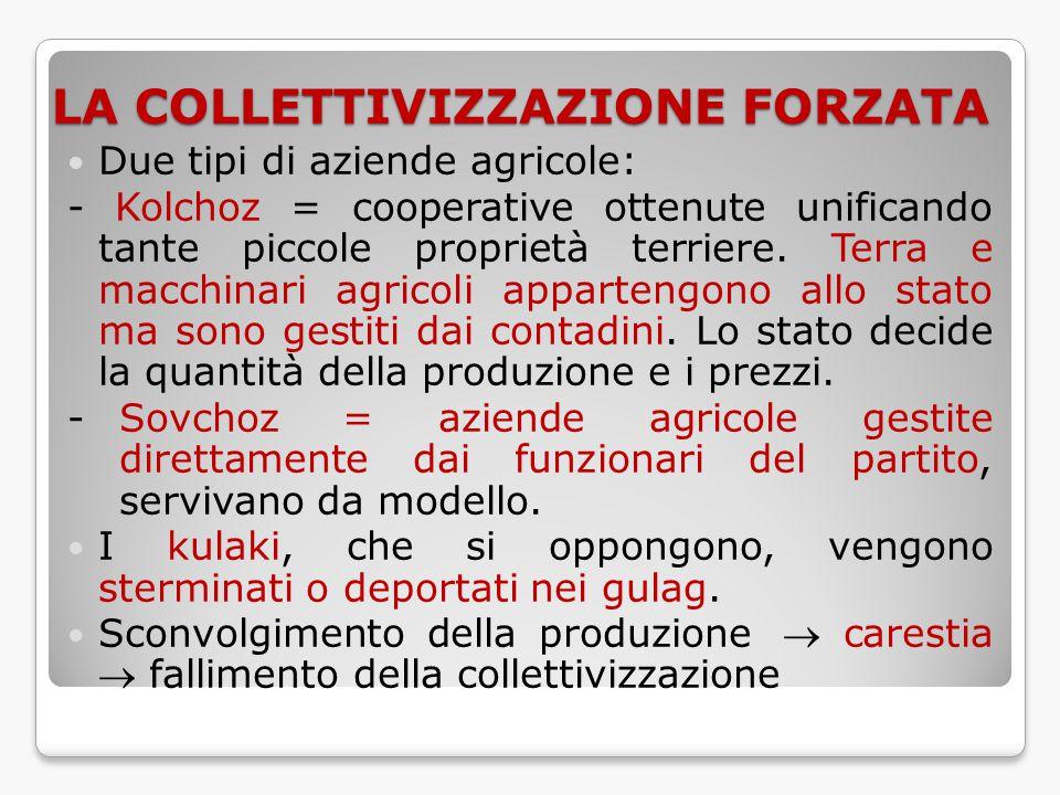 LA COLLETTIVIZZAZIONE FORZATA Due tipi di aziende agricole: - Kolchoz = cooperative ottenute unificando tante piccole proprietà terriere. Terra e macc