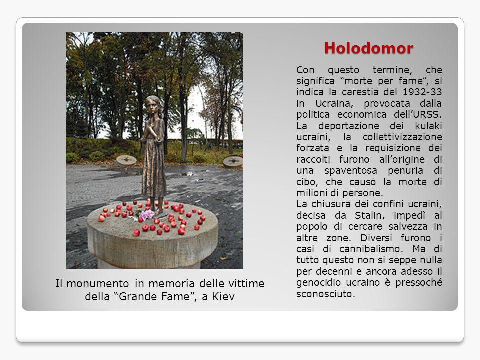 """Holodomor Con questo termine, che significa """"morte per fame"""", si indica la carestia del 1932-33 in Ucraina, provocata dalla politica economica dell'UR"""