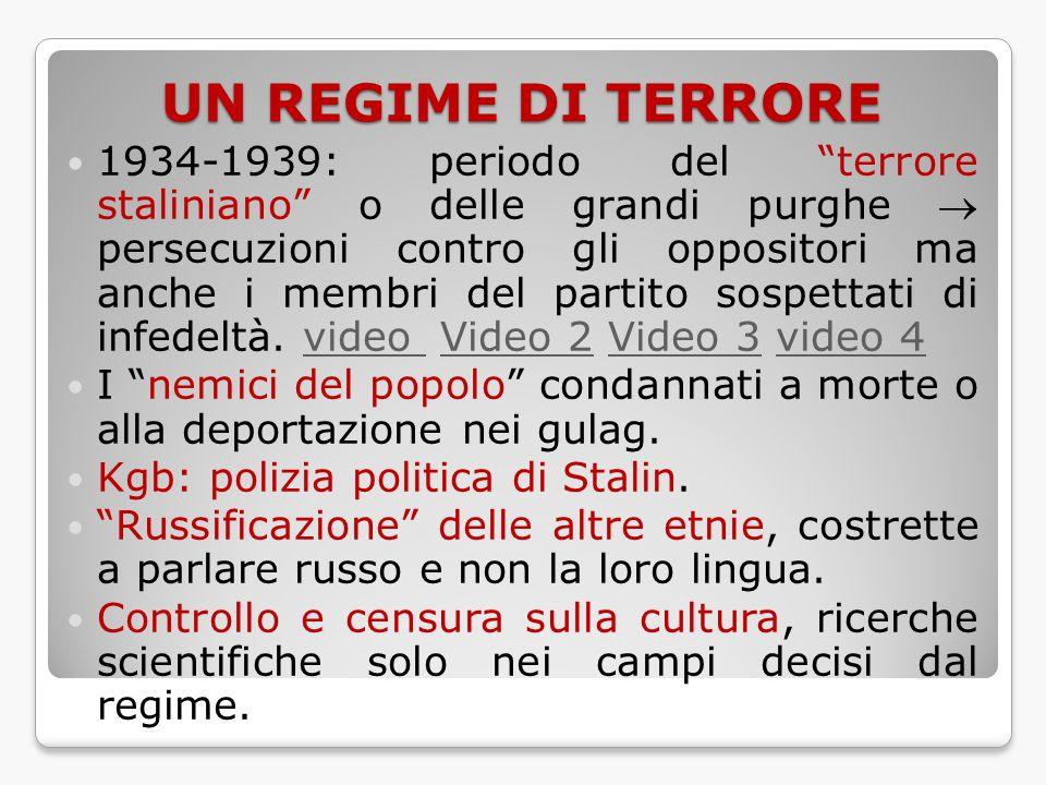"""UN REGIME DI TERRORE 1934-1939: periodo del """"terrore staliniano"""" o delle grandi purghe  persecuzioni contro gli oppositori ma anche i membri del part"""