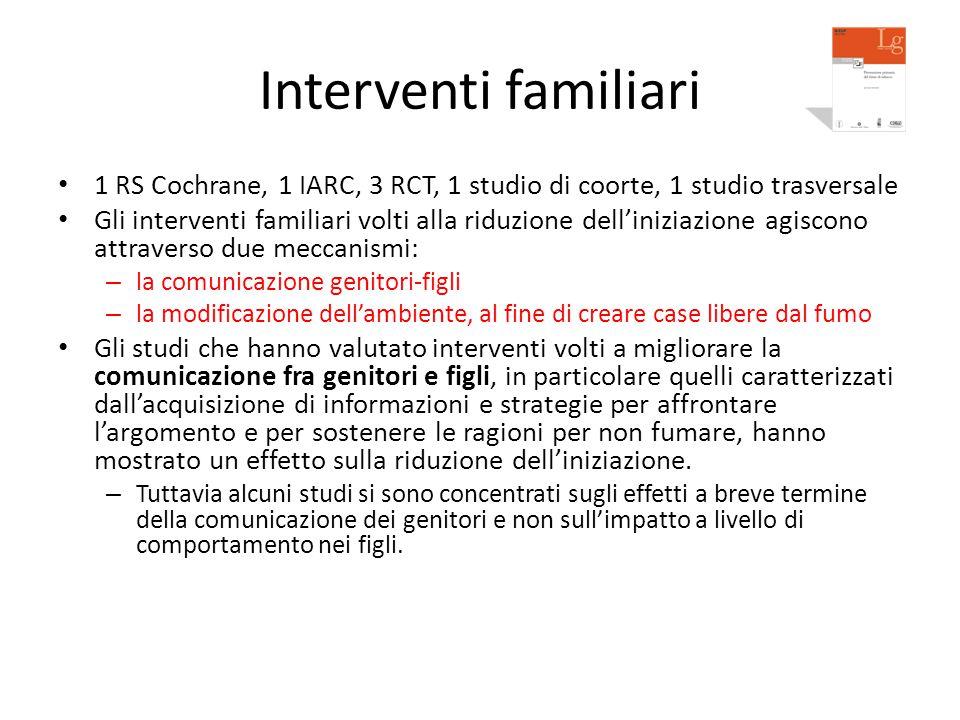 Interventi familiari 1 RS Cochrane, 1 IARC, 3 RCT, 1 studio di coorte, 1 studio trasversale Gli interventi familiari volti alla riduzione dell'iniziaz
