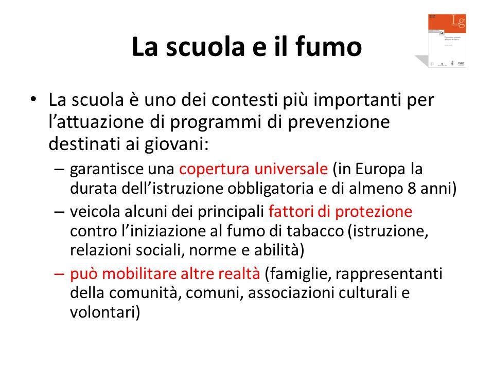 La scuola e il fumo La scuola è uno dei contesti più importanti per l'attuazione di programmi di prevenzione destinati ai giovani: – garantisce una co