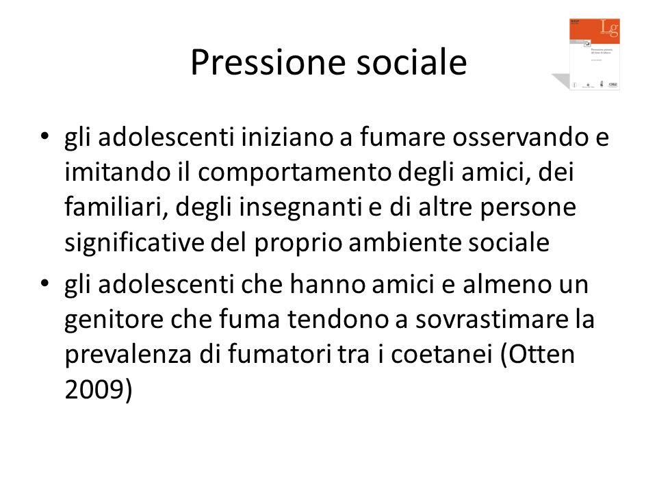 Pressione sociale gli adolescenti iniziano a fumare osservando e imitando il comportamento degli amici, dei familiari, degli insegnanti e di altre per