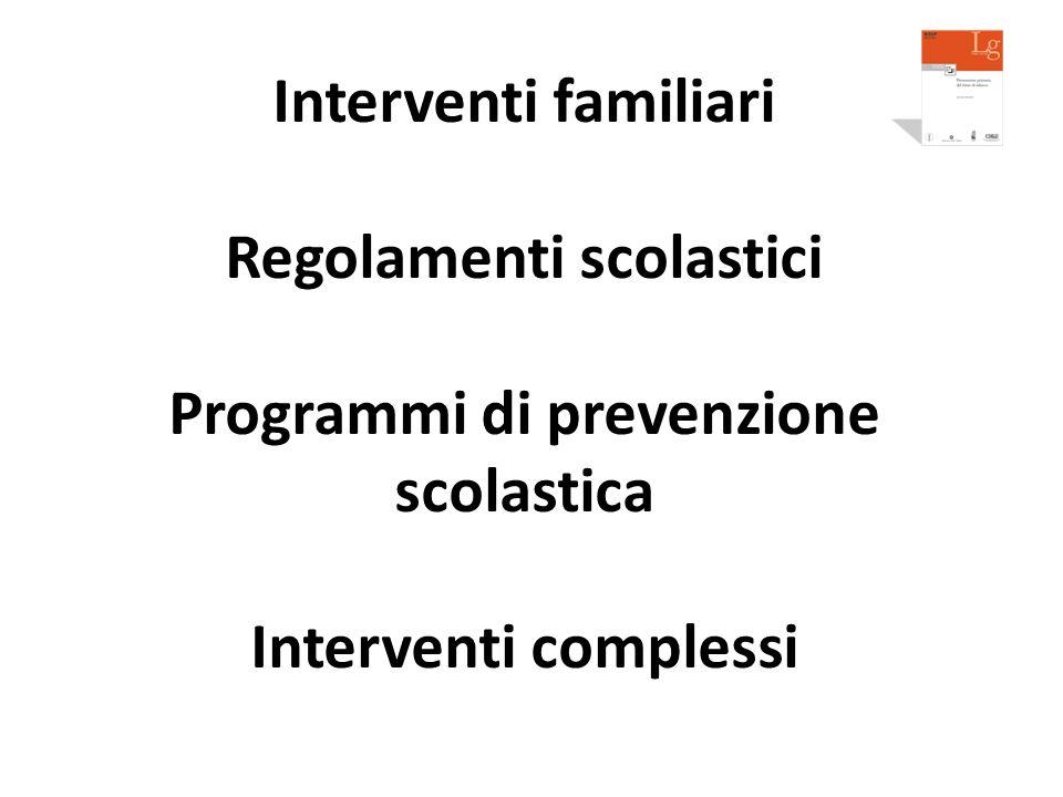 Interventi familiari Regolamenti scolastici Programmi di prevenzione scolastica Interventi complessi