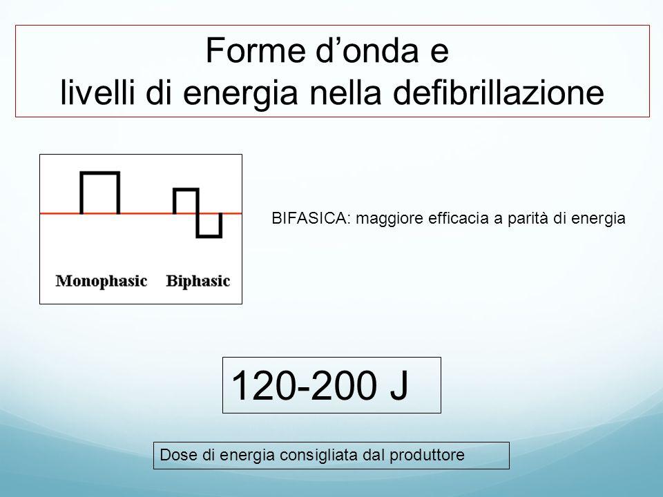 Forme d'onda e livelli di energia nella defibrillazione BIFASICA: maggiore efficacia a parità di energia 120-200 J Dose di energia consigliata dal pro
