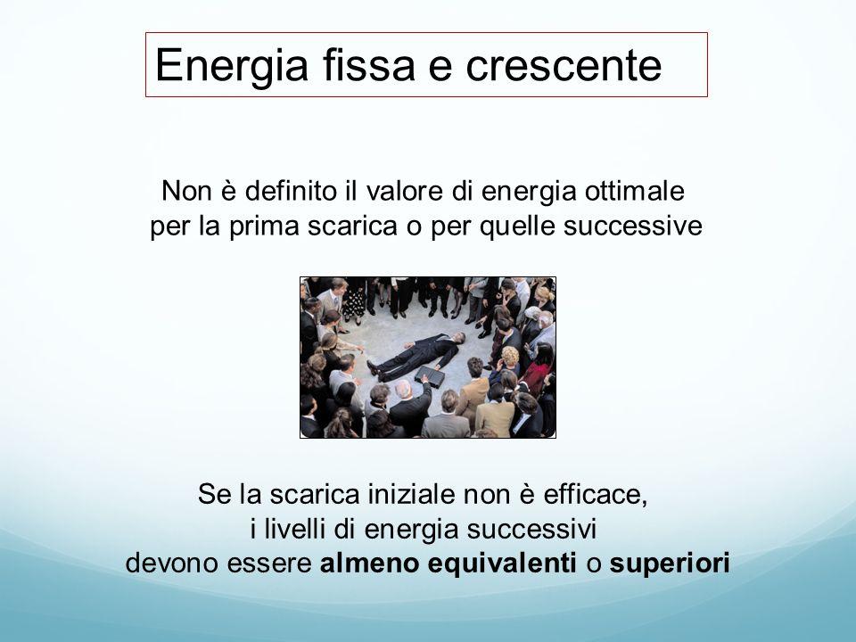 Energia fissa e crescente Non è definito il valore di energia ottimale per la prima scarica o per quelle successive Se la scarica iniziale non è effic