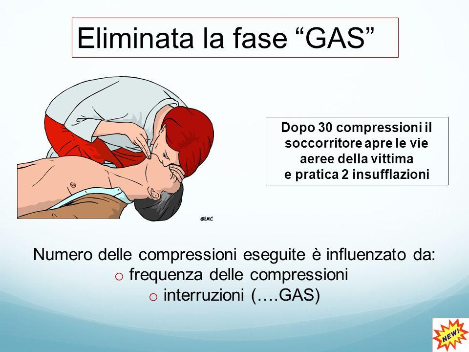 """Eliminata la fase """"GAS"""" Dopo 30 compressioni il soccorritore apre le vie aeree della vittima e pratica 2 insufflazioni Numero delle compressioni esegu"""