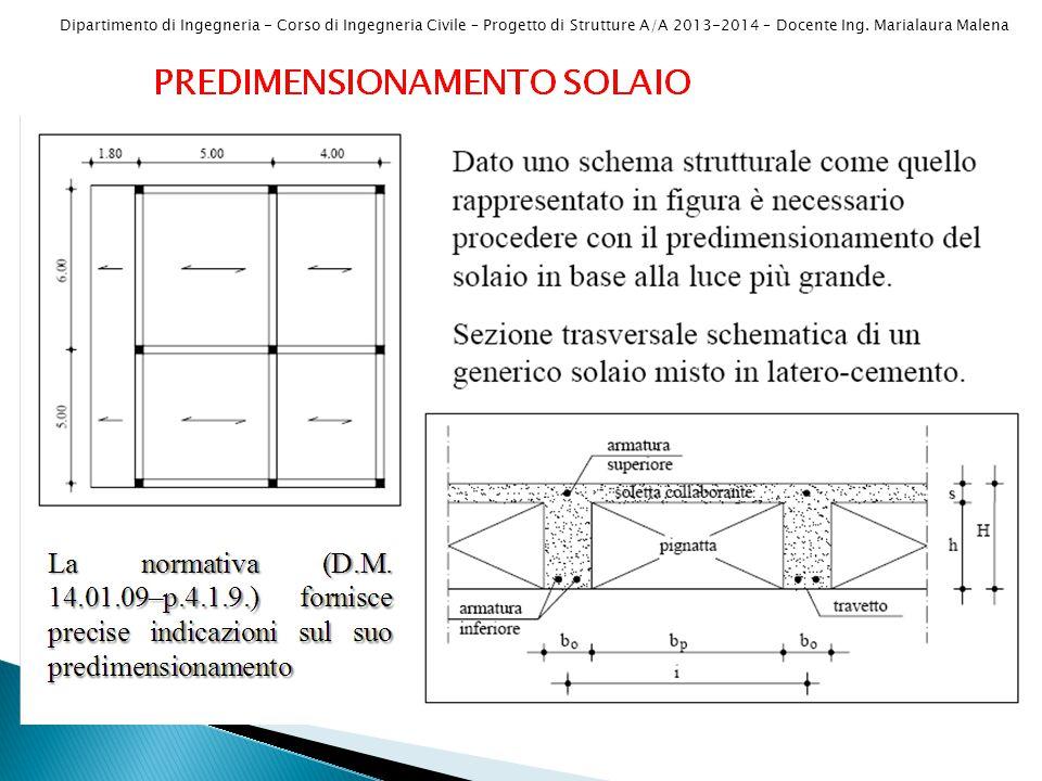 PREDIMENSIONAMENTO SOLAIO D.M. 14.01.2008 Punto 4.1.9 – Circ. 617/09 c.4.1.9