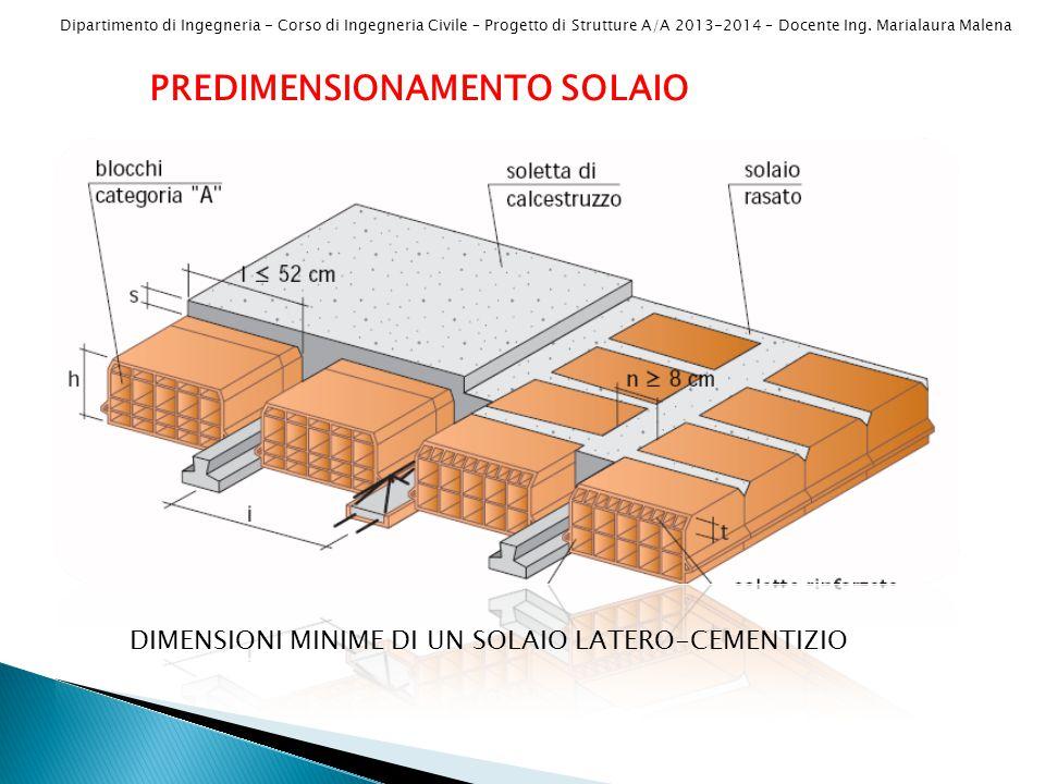Dipartimento di Ingegneria - Corso di Ingegneria Civile – Progetto di Strutture A/A 2013-2014 – Docente Ing. Marialaura Malena PREDIMENSIONAMENTO SOLA