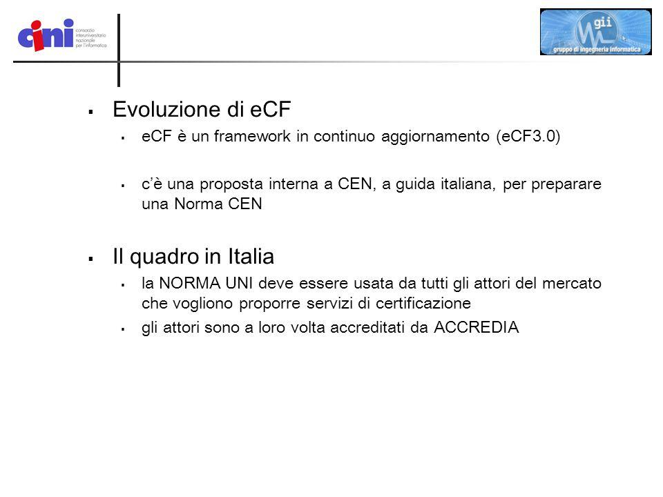  Evoluzione di eCF  eCF è un framework in continuo aggiornamento (eCF3.0)  c'è una proposta interna a CEN, a guida italiana, per preparare una Norm