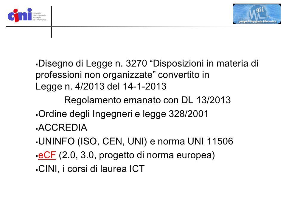 """ Disegno di Legge n. 3270 """"Disposizioni in materia di professioni non organizzate"""" convertito in Legge n. 4/2013 del 14-1-2013 Regolamento emanato co"""