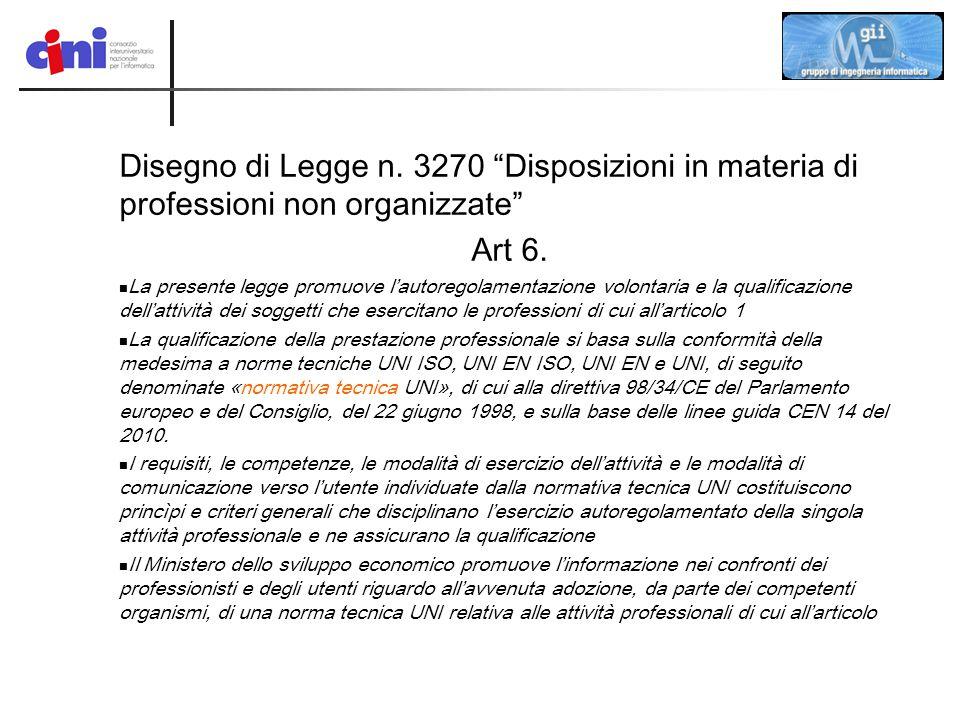 """Disegno di Legge n. 3270 """"Disposizioni in materia di professioni non organizzate"""" Art 6. La presente legge promuove l'autoregolamentazione volontaria"""