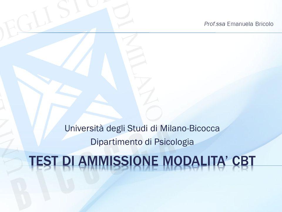 Università degli Studi di Milano-Bicocca Dipartimento di Psicologia Prof.ssa Emanuela Bricolo