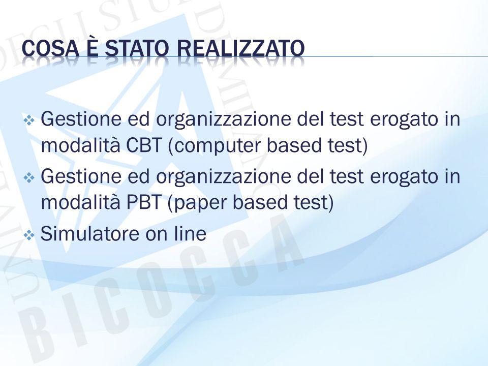  Gestione ed organizzazione del test erogato in modalità CBT (computer based test)  Gestione ed organizzazione del test erogato in modalità PBT (pap