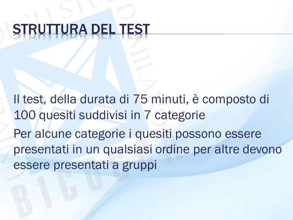 Il test, della durata di 75 minuti, è composto di 100 quesiti suddivisi in 7 categorie Per alcune categorie i quesiti possono essere presentati in un