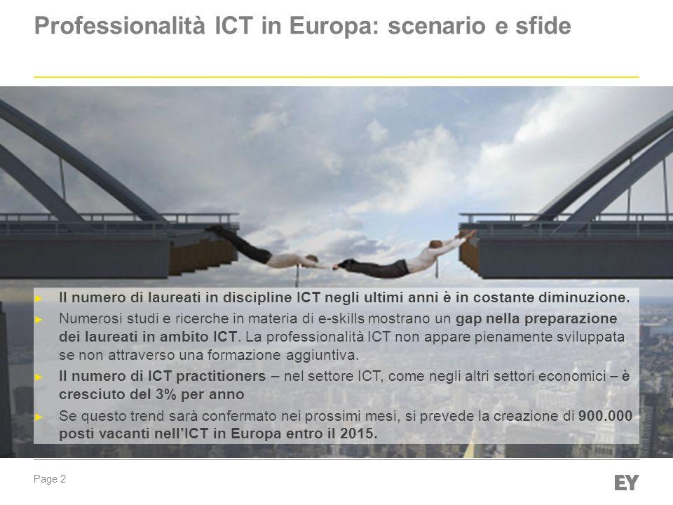Page 2 Professionalità ICT in Europa: scenario e sfide ► Il numero di laureati in discipline ICT negli ultimi anni è in costante diminuzione.