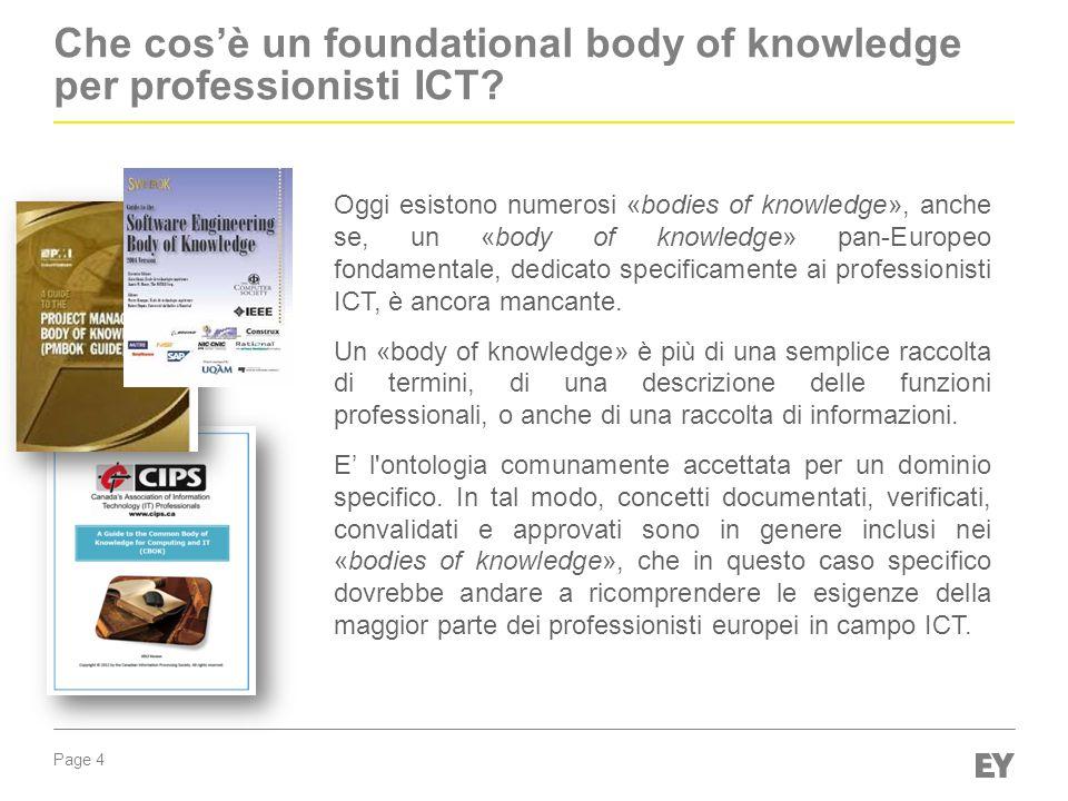 Page 5 Vantaggi e benefici dell'ICT Foundational Body of Knowledge I principali vantaggi per ICT professionals e stakeholders Fornire agli operatori ICT e manager, linee guida chiare e contenuti per lo sviluppo delle competenze.