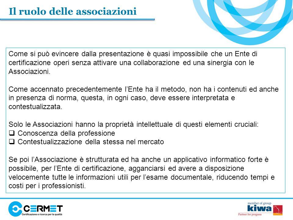 Il ruolo delle associazioni Come si può evincere dalla presentazione è quasi impossibile che un Ente di certificazione operi senza attivare una collaborazione ed una sinergia con le Associazioni.