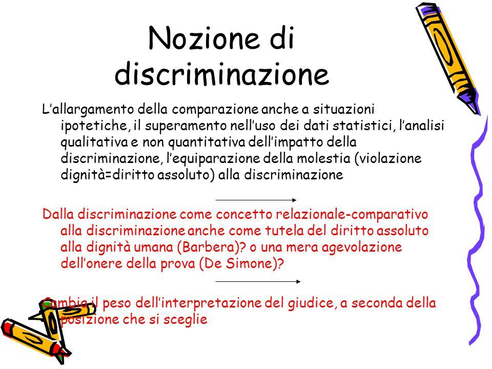 Nozione di discriminazione L'allargamento della comparazione anche a situazioni ipotetiche, il superamento nell'uso dei dati statistici, l'analisi qua