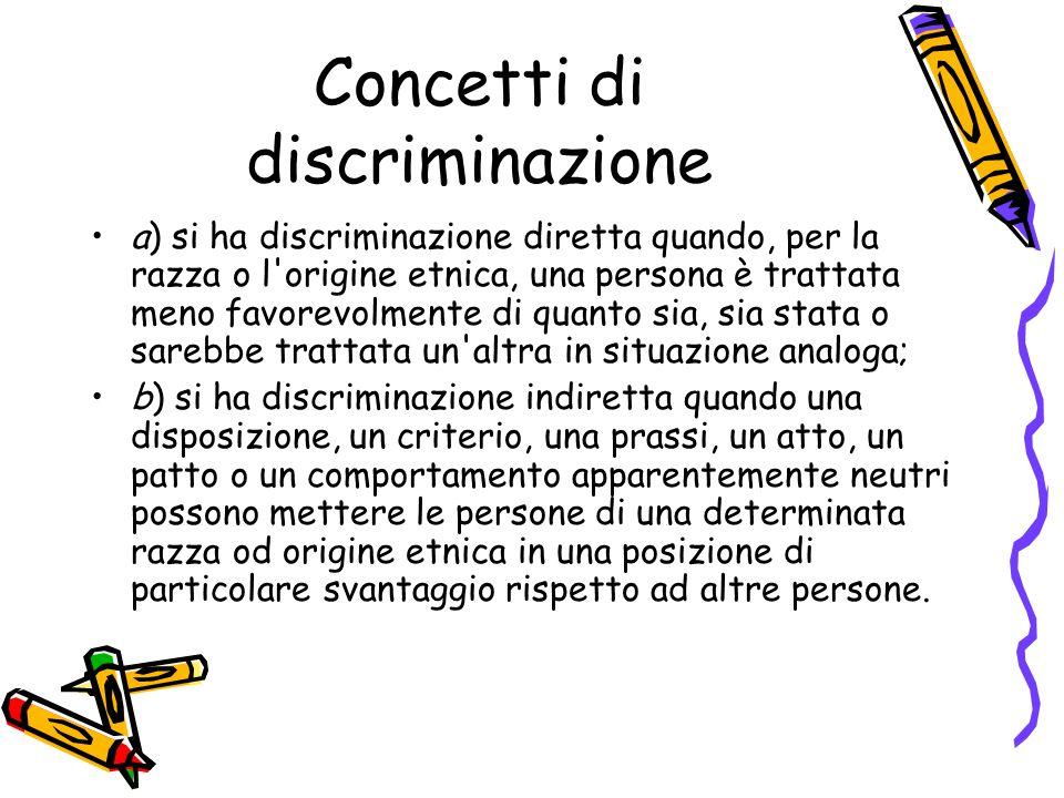 Concetti di discriminazione a) si ha discriminazione diretta quando, per la razza o l'origine etnica, una persona è trattata meno favorevolmente di qu