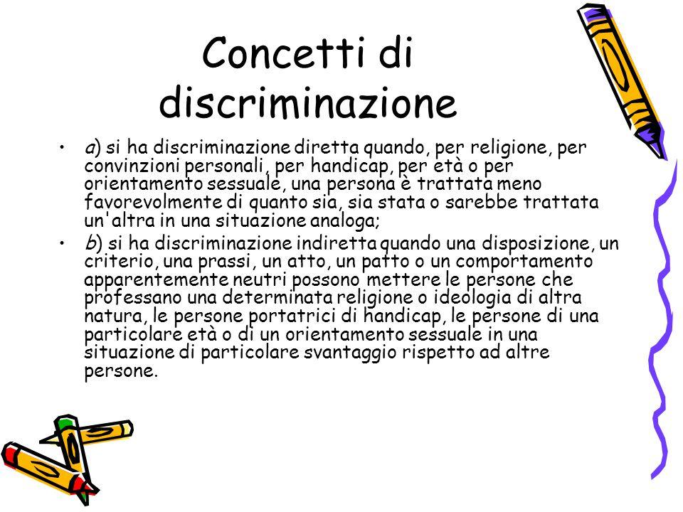 Concetti di discriminazione a) si ha discriminazione diretta quando, per religione, per convinzioni personali, per handicap, per età o per orientament