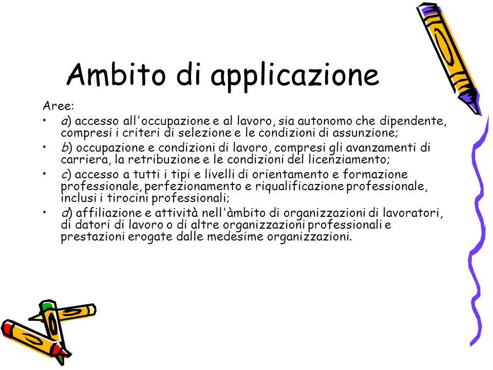 Ambito di applicazione Aree: a) accesso all'occupazione e al lavoro, sia autonomo che dipendente, compresi i criteri di selezione e le condizioni di a