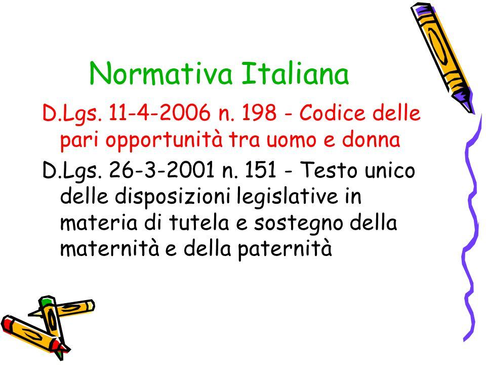 Normativa Italiana D.Lgs. 11-4-2006 n. 198 - Codice delle pari opportunità tra uomo e donna D.Lgs. 26-3-2001 n. 151 - Testo unico delle disposizioni l