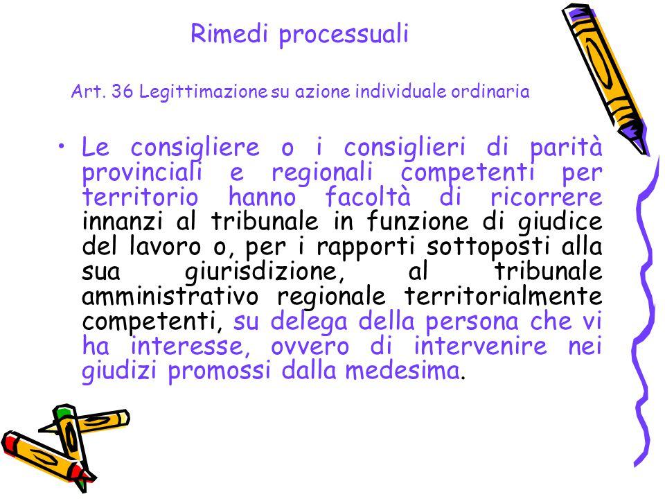 Rimedi processuali Art. 36 Legittimazione su azione individuale ordinaria Le consigliere o i consiglieri di parità provinciali e regionali competenti