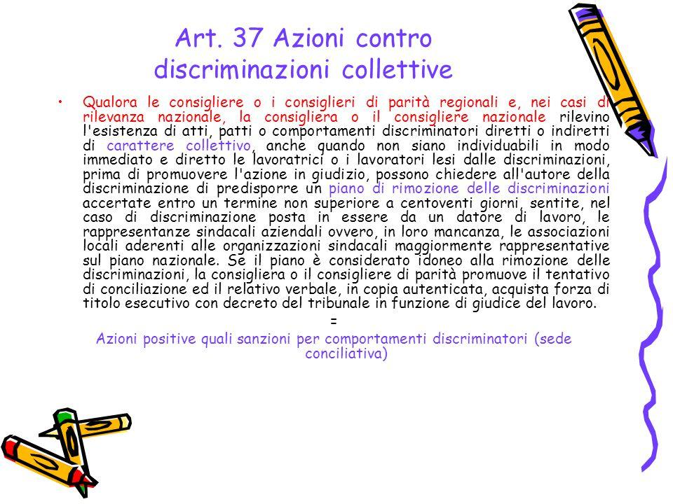 Art. 37 Azioni contro discriminazioni collettive Qualora le consigliere o i consiglieri di parità regionali e, nei casi di rilevanza nazionale, la con