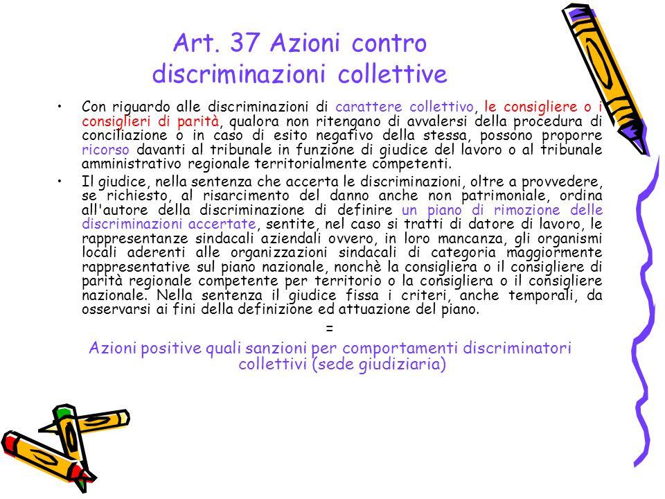 Art. 37 Azioni contro discriminazioni collettive Con riguardo alle discriminazioni di carattere collettivo, le consigliere o i consiglieri di parità,
