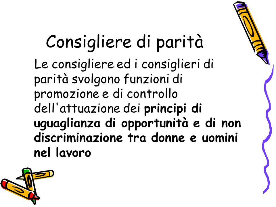 Consigliere di parità Le consigliere ed i consiglieri di parità svolgono funzioni di promozione e di controllo dell'attuazione dei principi di uguagli