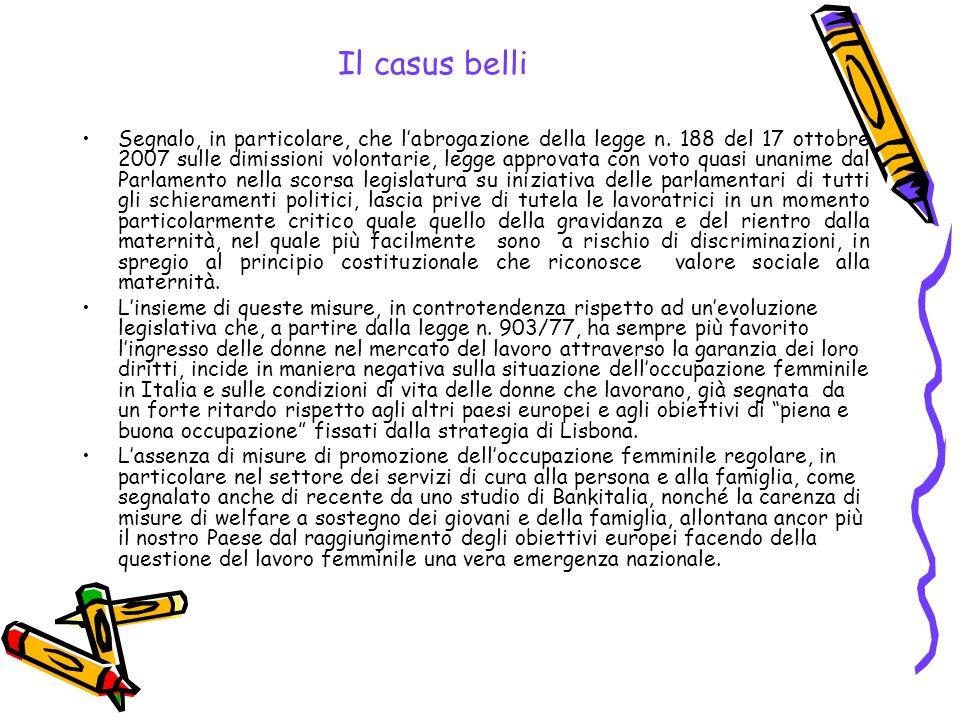 Il casus belli Segnalo, in particolare, che l'abrogazione della legge n. 188 del 17 ottobre 2007 sulle dimissioni volontarie, legge approvata con voto